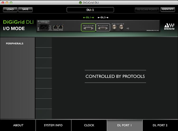 DiGiGrid DLI Control Panel in I/O Mode – DigiLink Port 1 Settings