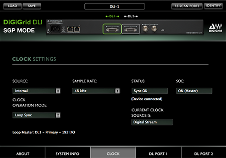 DiGiGrid DLI Control Panel in SGP Mode – Clock Settings
