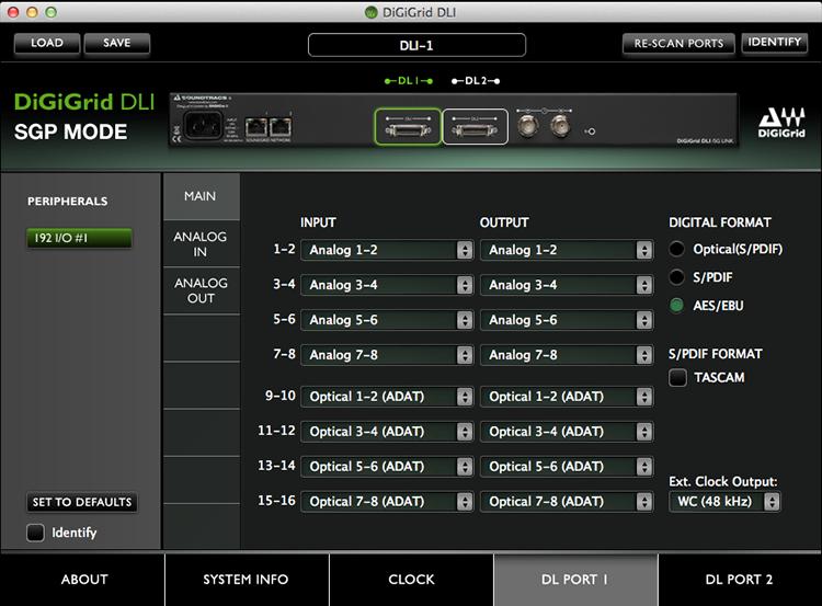 DiGiGrid DLI Control Panel in SGP Mode – DigiLink Port 1 Settings