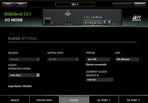 DiGiGrid DLS Control Panel in I/O Mode – Clock Settings