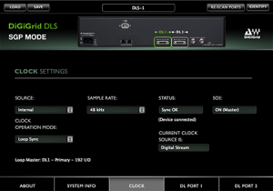 DiGiGrid DLS Control Panel in SGP Mode – Clock Settings