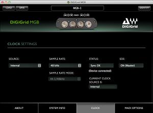 DiGiGrid MGB Control Panel – Clock Settings