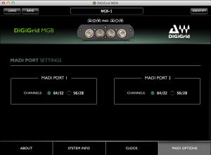 DiGiGrid MGB Control Panel – MADI Port Settings