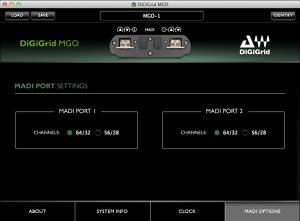 DiGiGrid MGO Control Panel – MADI Port Settings